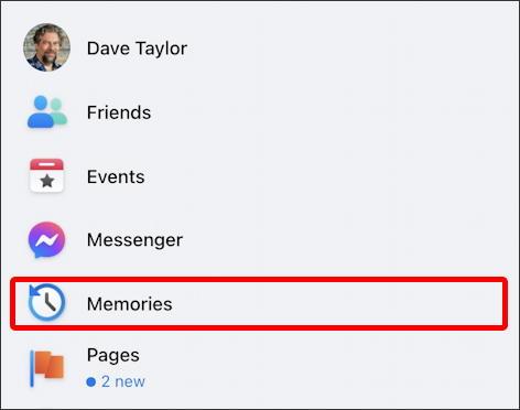 facebook main navigation menu - memories