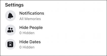 facebook memories - settings notifications
