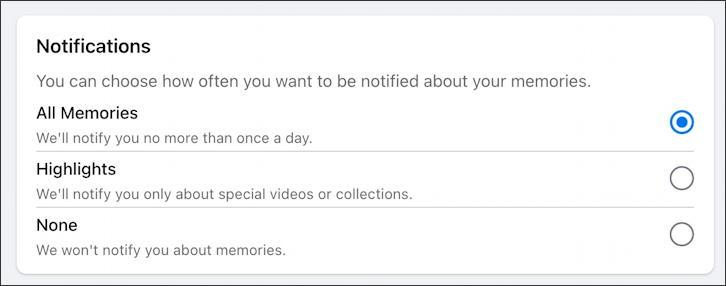 facebook memories notifications settings options preferences