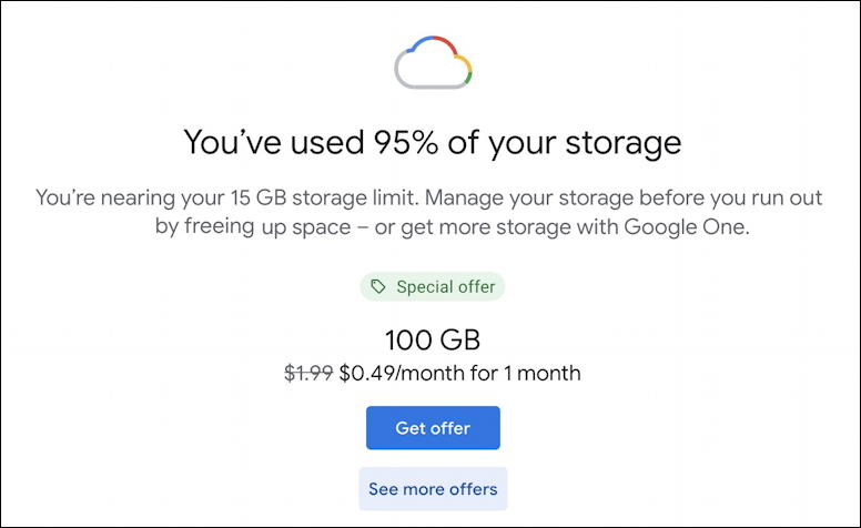 gmail google - you've used 95% of your storage