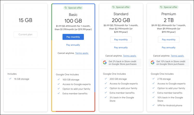 gmail google one partition size options 100g 200g 2tb
