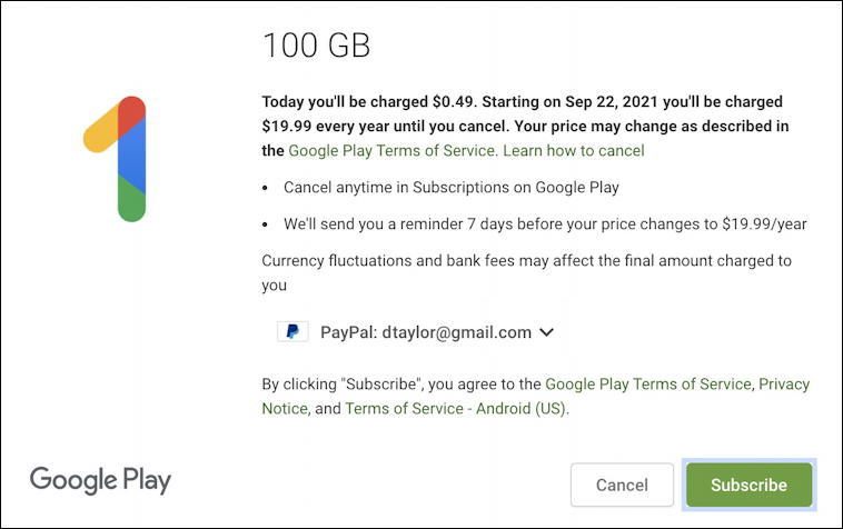 gmail google one - 100gb basic package - pay