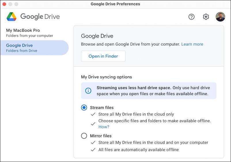 google drive for desktop - mac macos - sync or mirror preferences