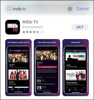 imdb tv in the iphone ios app store