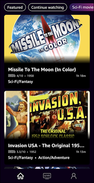 imdb tv iphone ios - sci-fi movies listing