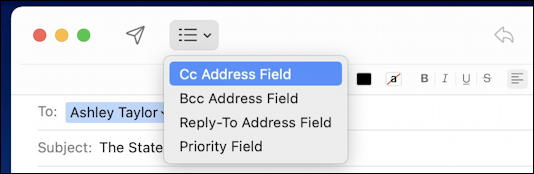 apple mail cc bcc reply-to