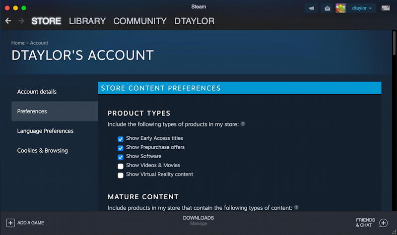 steam on Mac - account settings