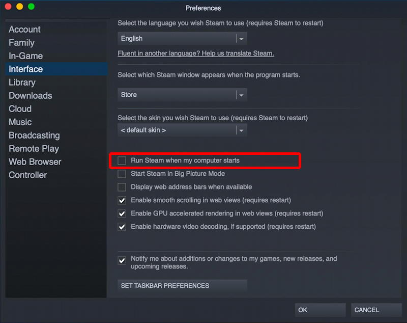 mac macos 11 - steam - preferences profile settings - stop automatic launch