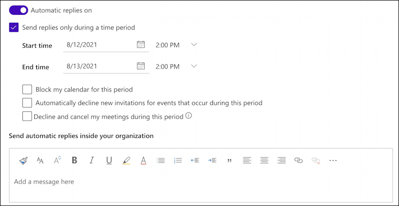 microsoft.com - settings preferences - automatic replies - default settings
