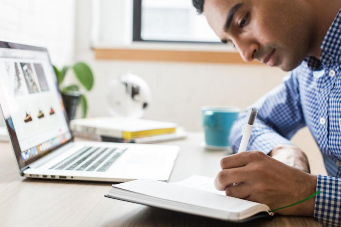 man studying for cpa prep exam review course