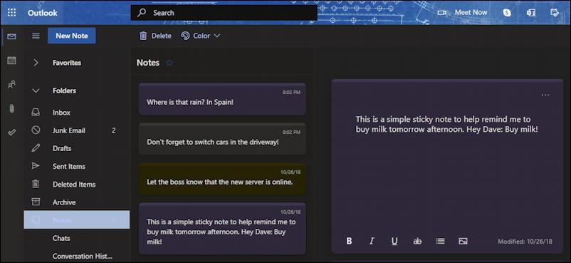sticky notes - windows 10 win10 pc - outlook.com Notes folder