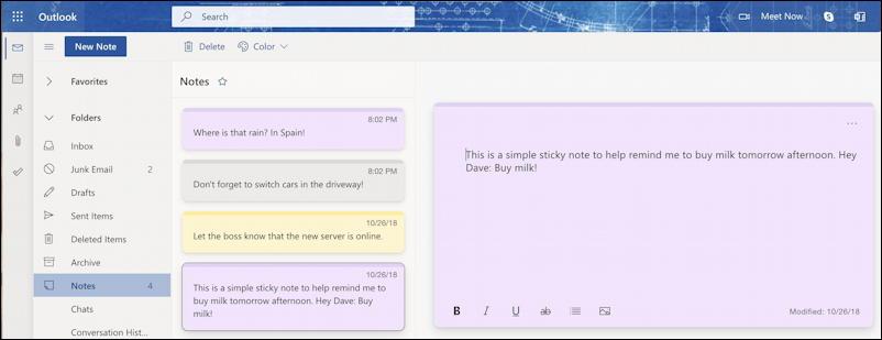 sticky notes - windows 10 win10 pc - outlook.com mac macos