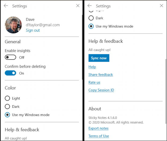 sticky notes - windows 10 win10 pc - settings