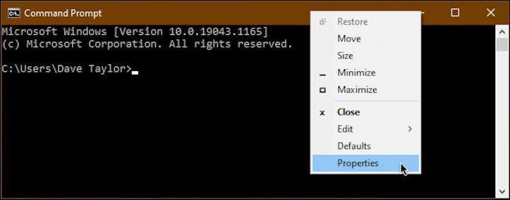 windows command prompt - right-click