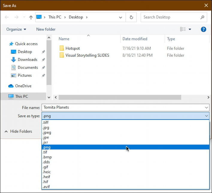 win10 pc - convert image file format - save as image formats