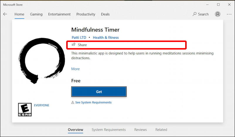windows microsoft store - mindfulness timer app with share link