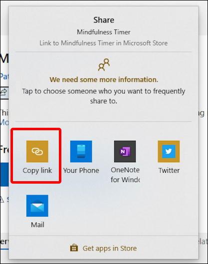 windows microsoft store - share menu