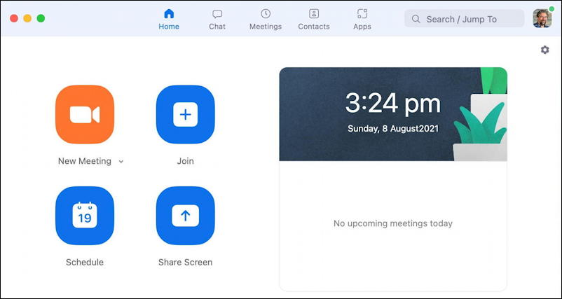 zoom schedule meeting - main zoom window