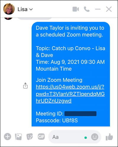 zoom schedule meeting - shared meeting info invitation