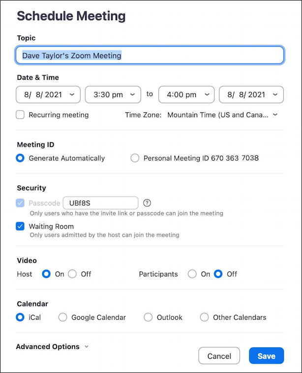 zoom schedule meeting - schedule a meeting in zoom main window