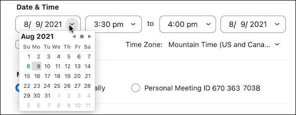 zoom schedule meeting - schedule date time