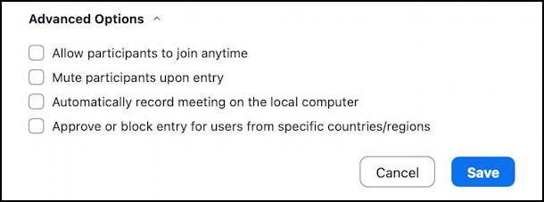 zoom schedule meeting - advanced options