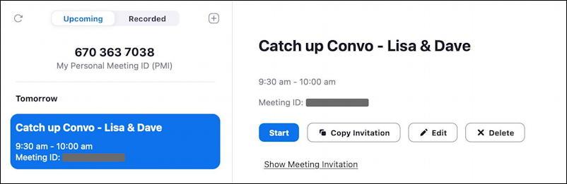 zoom schedule meeting - sharing links
