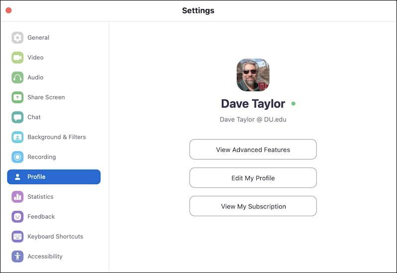 zoom on mac - settings - profile