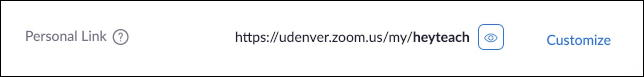 zoom online web  - advanced settings - profile - personal link - customize - heyteach url