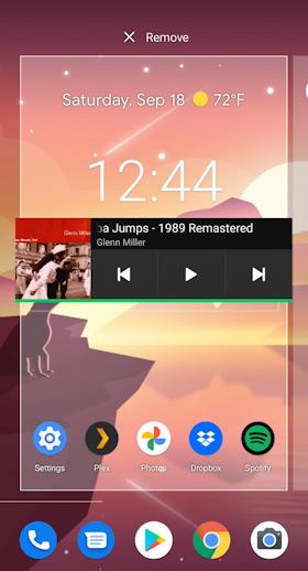 android add spotify widget home screen - remove delete