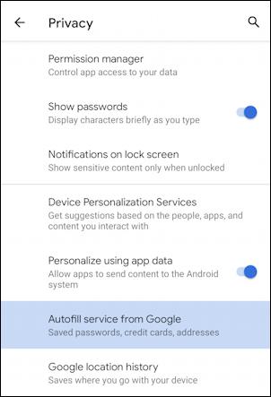 android settings - google autofill