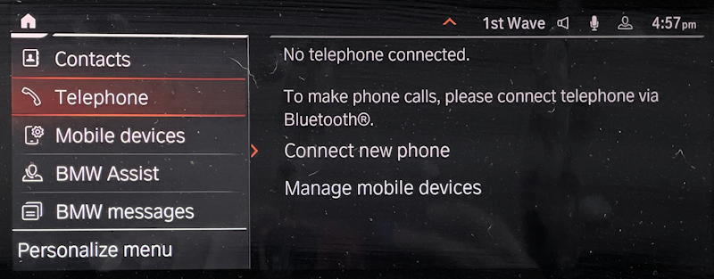 bmw forget delete disconnect bluetooth phone - no telephone