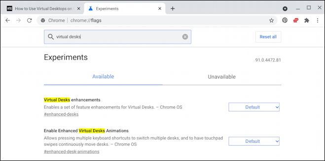 chromebook chromeos virtual desk - experimental settings flags