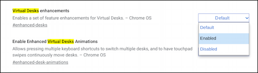 chromebook chromeos virtual desk - change flag setting