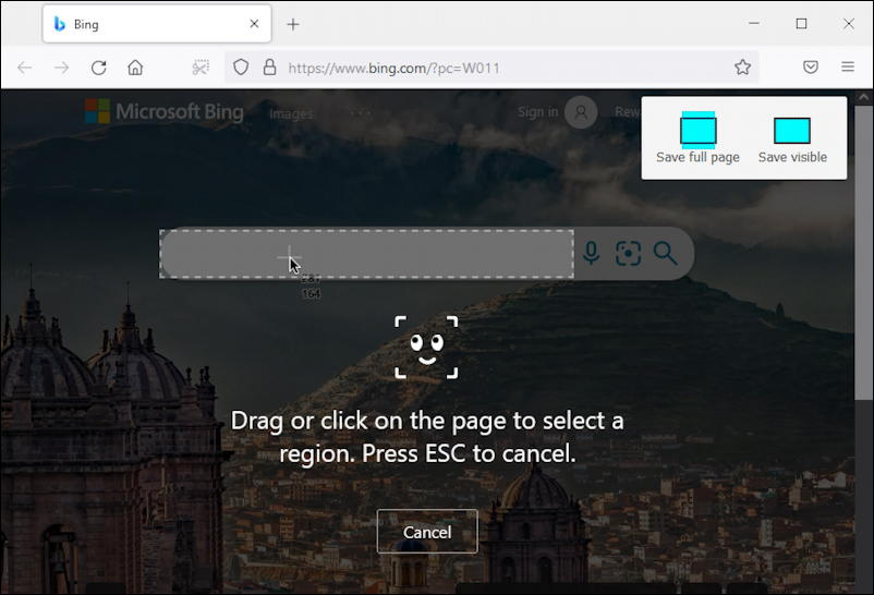 firefox full web page capture - toolbar