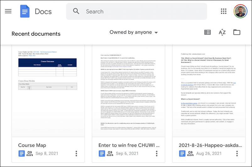 google docs drive files to open