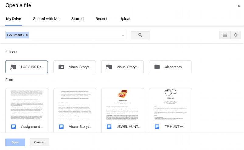 google docs drive open word file - file picker