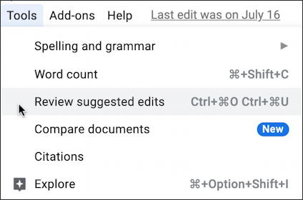 google docs revision change tracking - tools > review changes