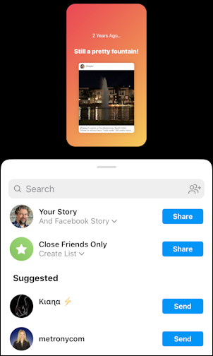 instagram stories - on this day - stories creator -share with whom where
