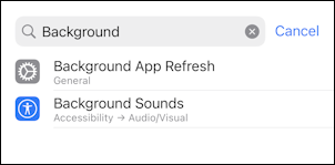 ios15 background sounds accessibility - settings search