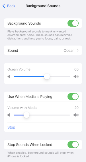 ios15 background sounds accessibility - play over music