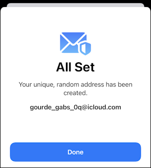 iphone ios 15 - icloud settings - hide my email - all set up
