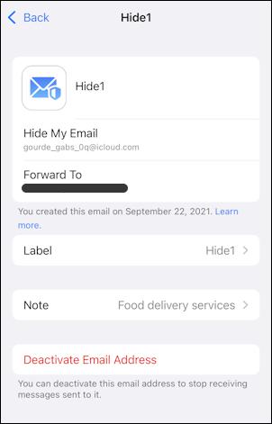 iphone ios 15 - icloud settings - hide my email - info delete