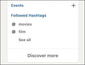 linkedin follow hashtag - profile with followed hashtags film movies