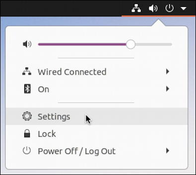 ubuntu linux - main system menu - settings