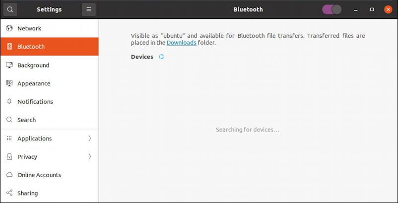 ubuntu linux - settings - bluetooth