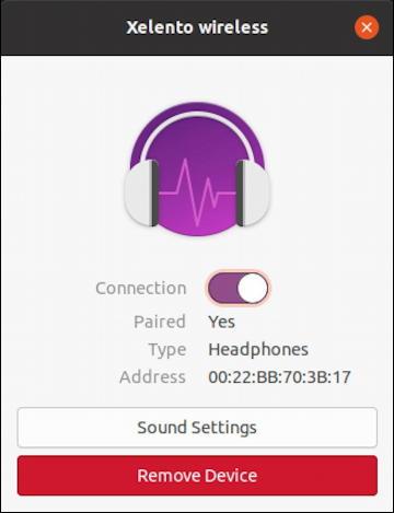 ubuntu linux - paired bluetooth device headphones control window