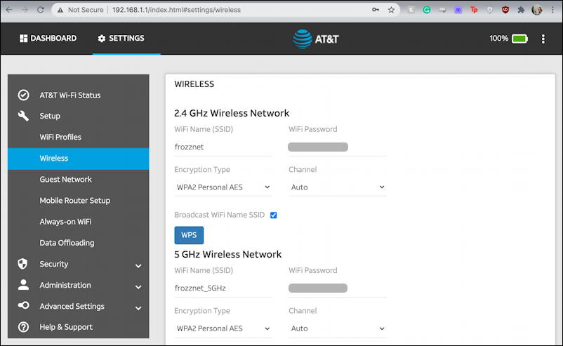 netgear nighthawk 5g - web browser admin interface