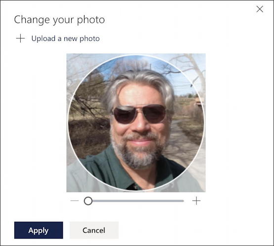 outlook.com office 365 - adjusting crop zoom on profile photo picture