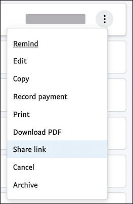 paypal - share link to invoice menu
